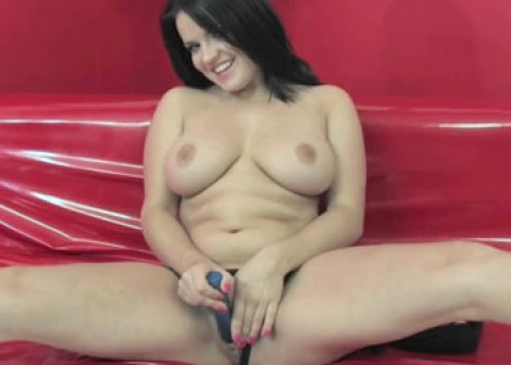 Teen Julie has some fun with her little toy